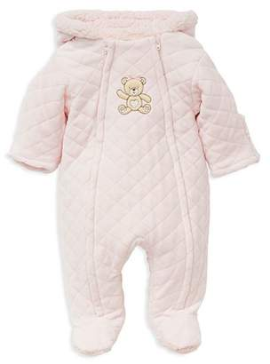 Little Me Girls' Faux-Fur Hooded Teddy Bear Footie Jacket - Baby