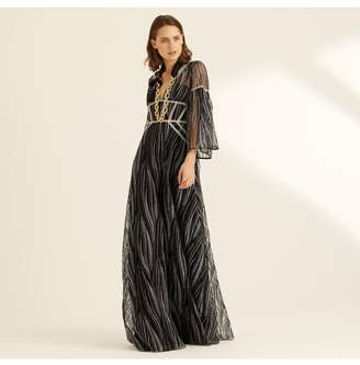 Amanda Wakeley Midnight Metallic Embroidery Long Dress