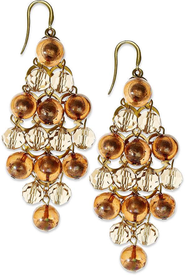 Alfani Earrings, Gold-Tone Beaded Chandelier Earrings