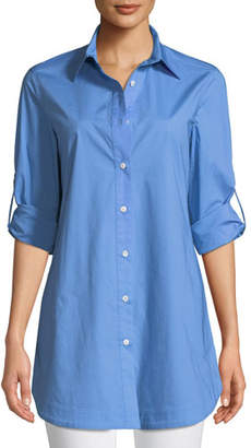 Misook Stretch-Cotton Shirt with Painter's Pockets, Petite