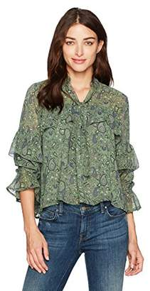 Lucky Brand Women's High Neck Ruffle Blouse in Green Multi
