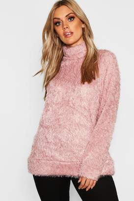 boohoo Plus High Neck Fluffy Knit Jumper