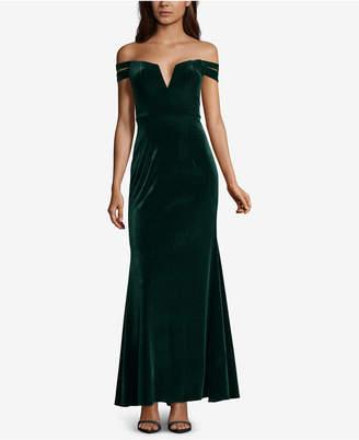 Xscape Evenings Velvet Off-The-Shoulder Gown