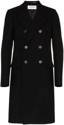 Saint Laurent black double breasted wool overcoat