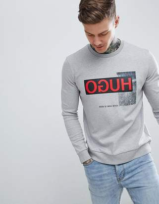 HUGO Dicago-U1 Large Reverse Logo Crew Neck Sweat in Gray