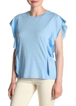 DKNY Ruffled Cap Sleeve T-Shirt