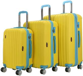 Brio Luggage Two-Tone Thick Ribbed Expandable Suitcase Set (Set of 3)