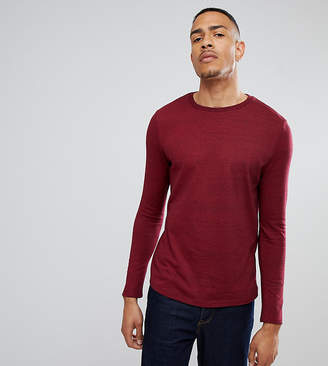Asos Design TALL Long Sleeve T-Shirt In Heavy Twisted Jersey With Roll Sleeve In Oxblood