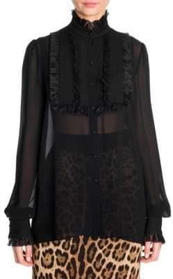 Dolce & Gabbana Dolce& Gabbana Dolce& Gabbana Women's Silk Georgette Ruffle Bib Blouse - Black - Size 38 (2)