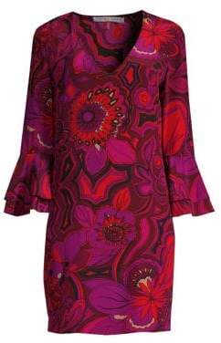 Trina Turk Casa Mexico Freeda Floral-Print Silk Shift Dress