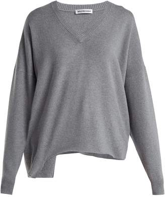 Balenciaga Cut-out wool and cashmere-blend sweater