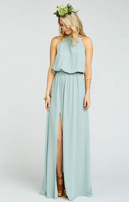 Show Me Your Mumu Heather Halter Dress ~ Silver Sage Crisp