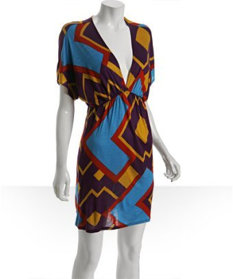 Tbags purple geometric print jersey batwing dress