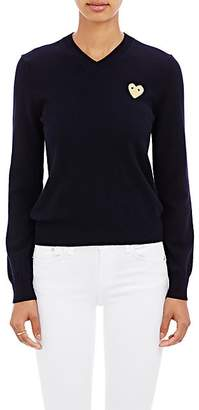 Comme des Garcons Women's Playful Heart V-Neck Sweater - Navy