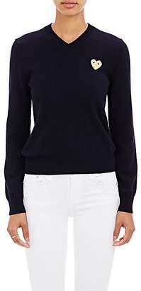 Comme des Garcons Women's Heart Wool V-Neck Sweater - Navy