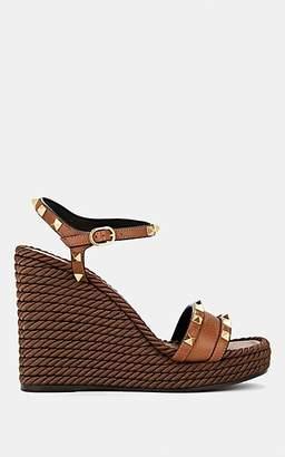 Valentino Garavani Women's Rockstud Torchon Leather Wedge Sandals - Brown