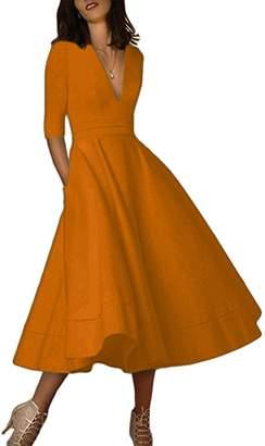 EFOFEI Women A Line Dress 3/4 Sleeve Dress Retro Swing Dress Maxi Dress