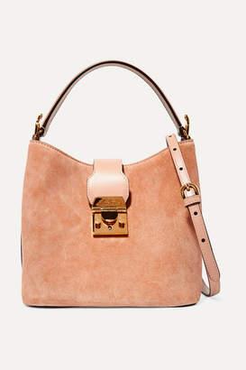 Mark Cross Murphy Leather-trimmed Suede Bucket Bag - Sand