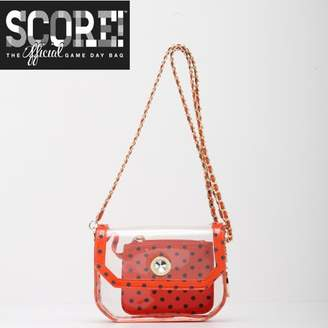 clear PU Cross Body Shoulder Bag for Game Day Chrissy Orange & Navy Blue by SCORE! The Official Game Day Bag Two Piece Set