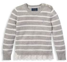Ralph Lauren Little Girl's& Girl's Striped Lace Peplum Sweater