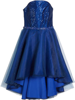 Zoe Sequin Embroidered & Organza High-Low Dress Size 7-16