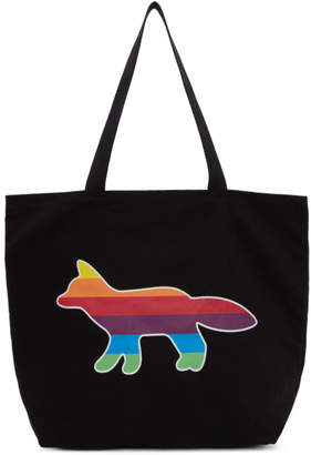 MAISON KITSUNÉ SSENSE Exclusive Black Rainbow Fox Tote