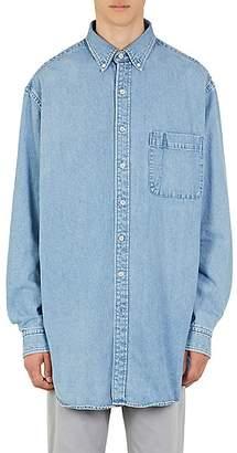 Balenciaga Men's Logo-Print Denim Oversized Shirt - Lt. Blue