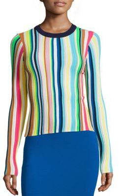 MILLY Vertical Striped Rainbow Pullover $350 thestylecure.com