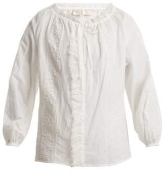 Vanessa Bruno Lace Insert Cotton Blend Blouse - Womens - White