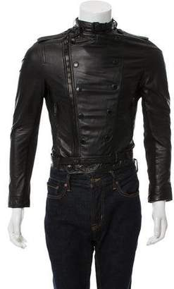 Burberry Leather Zip-Up Jacket