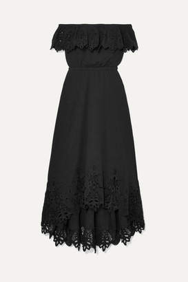 Rachel Zoe Cleo Off-the-shoulder Broderie Anglaise Crinkled-cotton Dress - Black