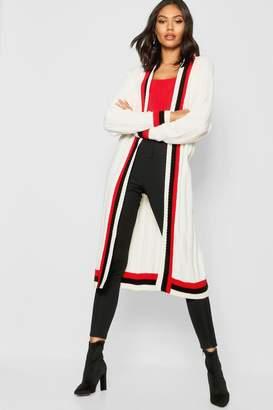 boohoo Maxi Sports Stripe Belted Cardigan