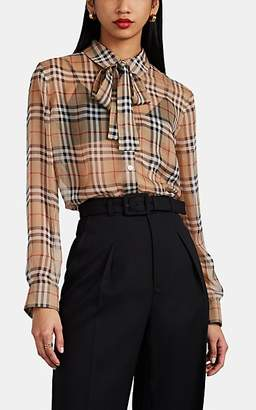 Burberry Women's Heritage-Checked Silk Tieneck Blouse - Beige, Tan