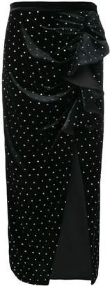 Self-Portrait velvet straight skirt