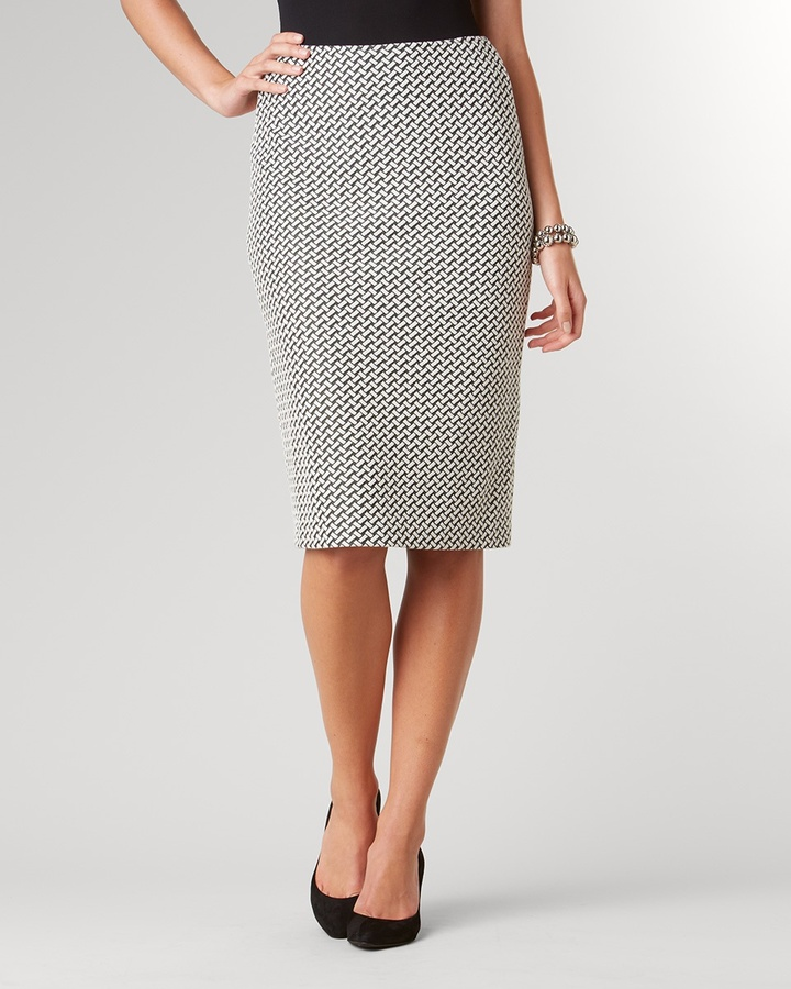 Coldwater Creek Ponte graphic pencil skirt