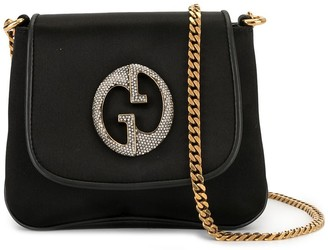 Gucci Pre-Owned rhinestone logo chain shoulder bag