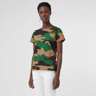 Burberry Camouflage Print Cotton Jersey T-shirt , Size: XL, Green