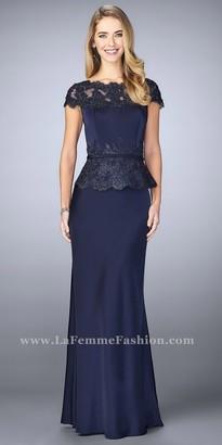 La Femme Beaded Lace Embellished Peplum Evening Dress $498 thestylecure.com