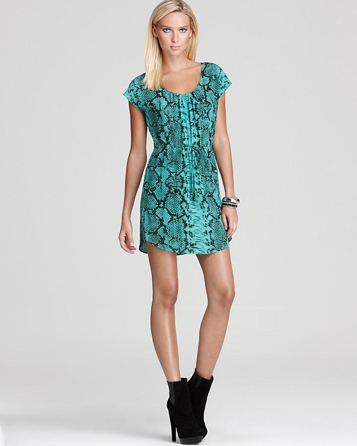 Aqua Drawstring Dress - Viper Snake