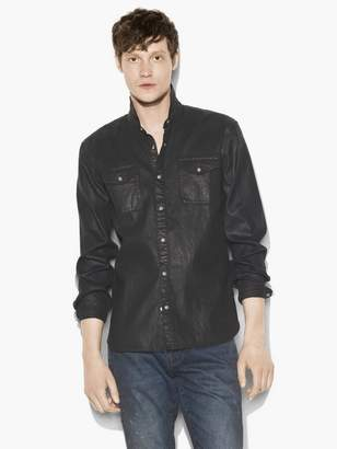 John Varvatos Coated Cotton Western Shirt