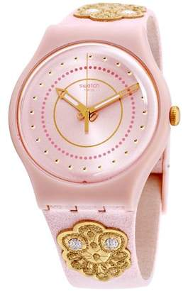 Swatch Originals Embroidery Pink Dial Leather Strap Unisex Watch SUOP108