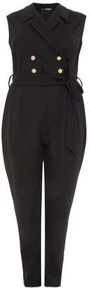 Quiz Curve Black Lapel Button Jumpsuit