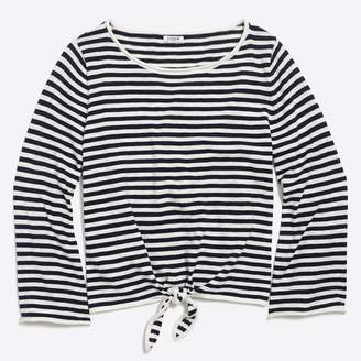 J.Crew Factory Striped boatneck tie-front sweater