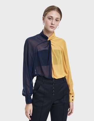 Creatures of Comfort Coy Two-Tone Blouse