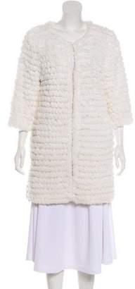 Adrienne Landau Knit Fur Short Coat