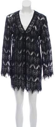 Melissa Odabash Lace Long Sleeve Mini Dress