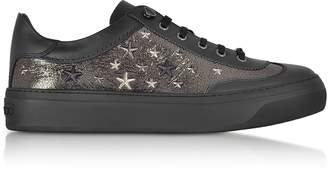 Jimmy Choo Ace EOR Metallic Gunmetal Leather Low Top Sneakers w/Studded Stars