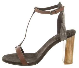 Brunello Cucinelli Monili-Embellished T-Strap Sandals