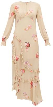 Preen Line Gabriella Floral Print Crepe De Chine Maxi Dress - Womens - Beige Multi
