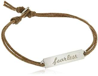 Me & Ro Me&Ro Sterling Double-Sided Fearless ID Cord Strand Bracelet